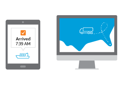 Fleet management software illustration on computer and tablet screens displaying status and activity of vehicle tracking devices.
