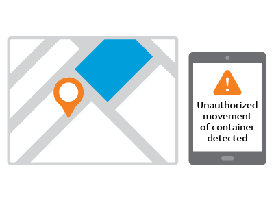 illustration of cargo monitoring software alerting mobile phone that trailer container being tracked by gps is outside of custom defined area.