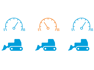illustration depicting 3 equipment assets with a dial-chart showing their ROI performance