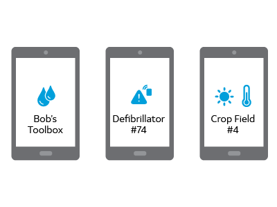 illustration of 3 tablets displaying status reading of 3 different assets