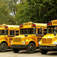school buses lined up at a parking lot