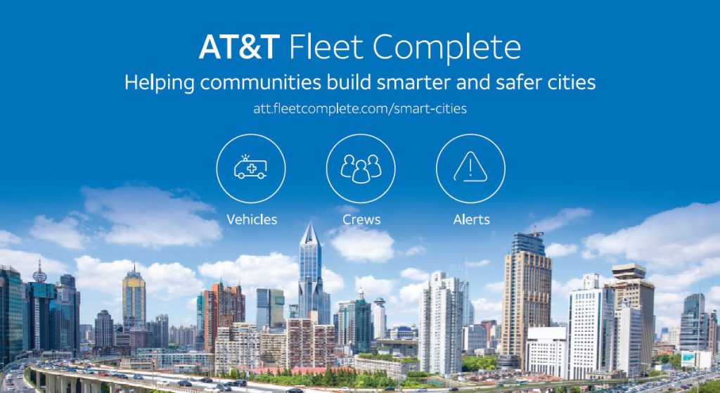city landscape with 3 icons showing connection between vehicles, workers and activity