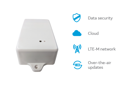 graphic showing the AT1 device with key features