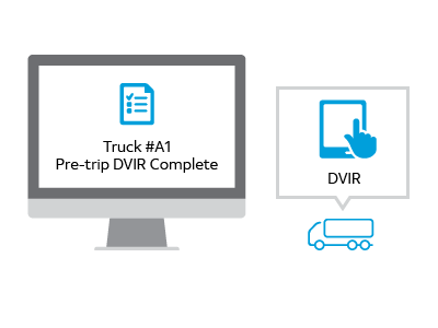 illustration of a computer screen showing a status of a DVIR report