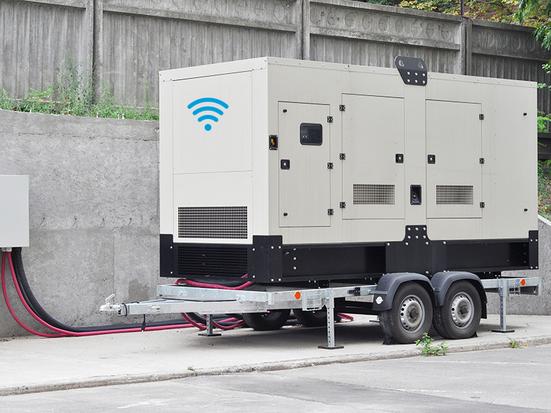Big Backup Generator for Office Building Сonnected to the Control Panel with Cable Wire